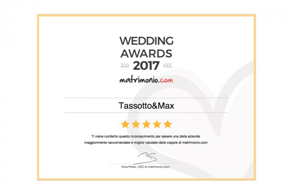 Wedding Award 2017 Tassotto&Max Matrimonio.com
